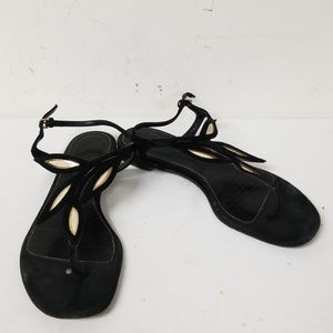 Sergio Rossi Black Leather Ankle Strap Sandals